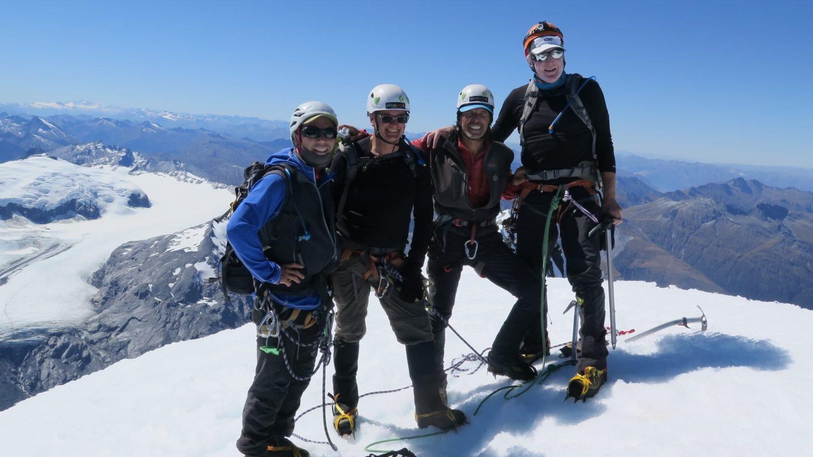 Blue sky summits Mt Aspiring