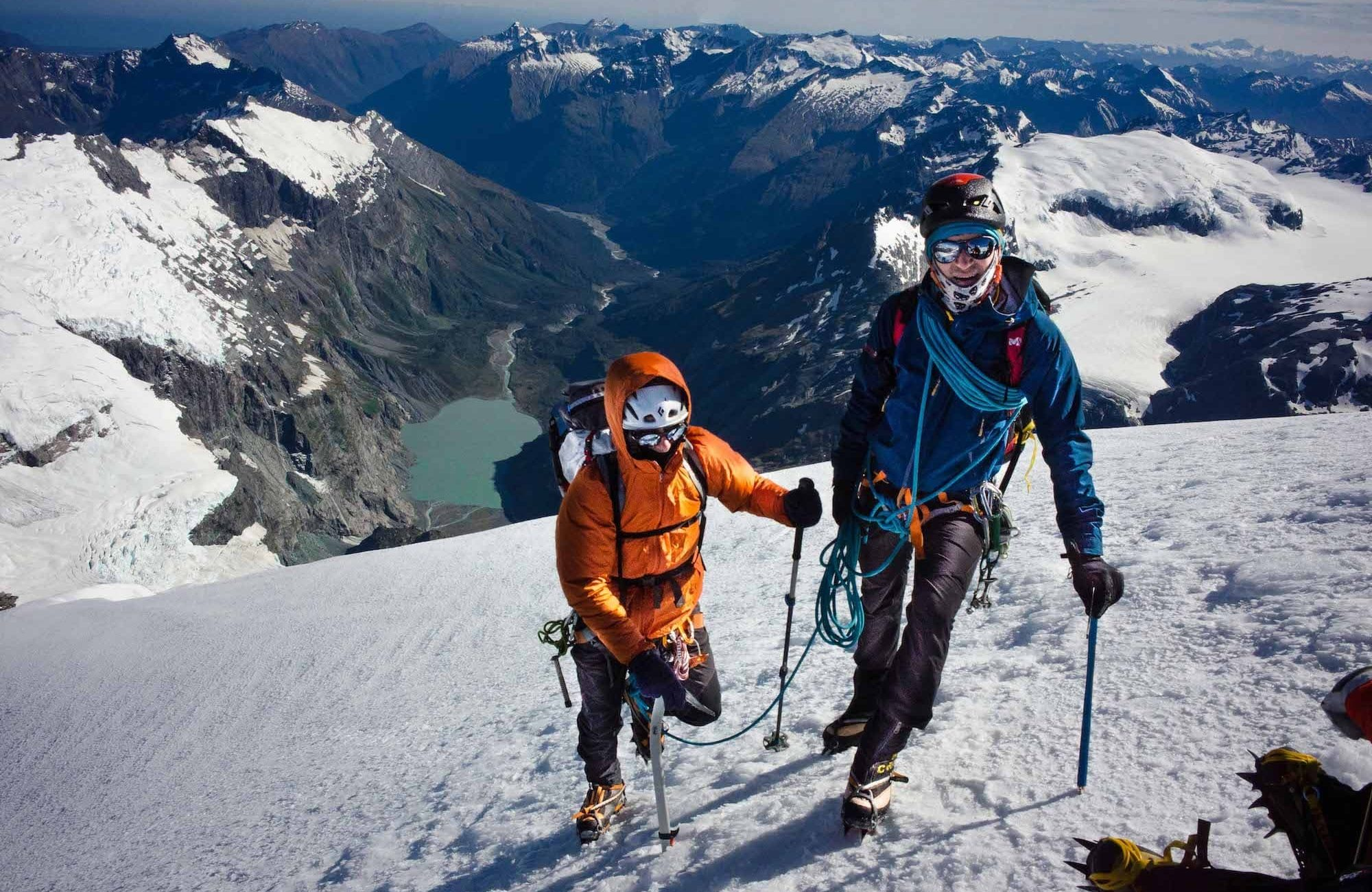 Mountain climbing with crampons on Mount Aspiring, NZ