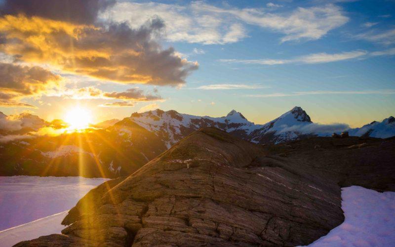 Mountain sunrise view from Mt Aspiring, NZ