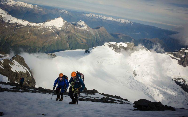 Two people ascend Mount Aspiring, NZ