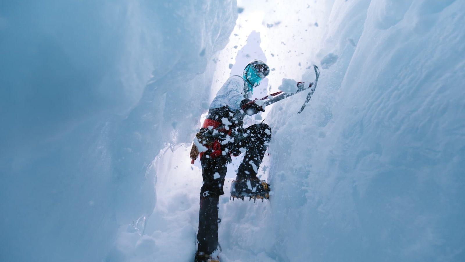 Ice axe technique training