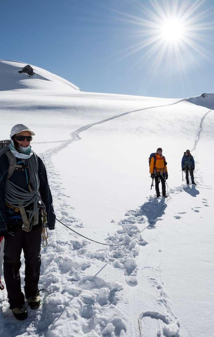 Roped up for glacier travel