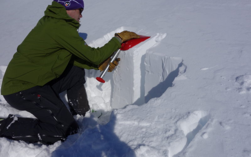 Snowpack on an avalanche course