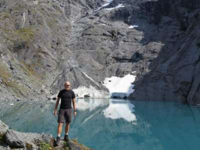 Man by Lake Crucible, Mt Aspiring National Park, NZ