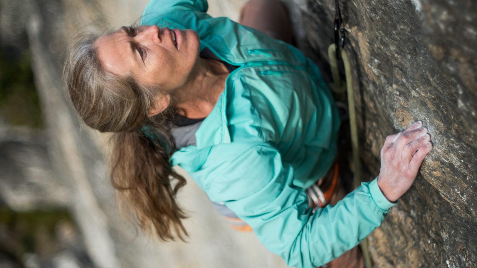 Lynn Hill climbing Little Big Wall Wanaka, Dom Channon Photo