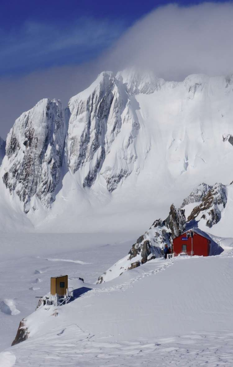 Glacier Ski Tour hut with Aspiring Guides