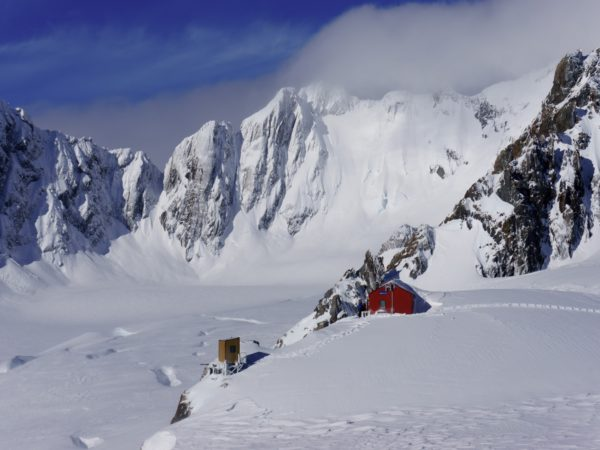 Ski touring on Tasman Glacier