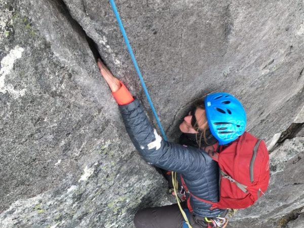Crack climbing in the Darrans, Fiordland